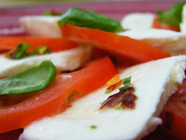 Chilli and Lime Dressing drizzled over a caprese salad