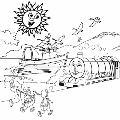 Thomas tank the engine Henry train illustration steam railway line pictures to color coloring sheets