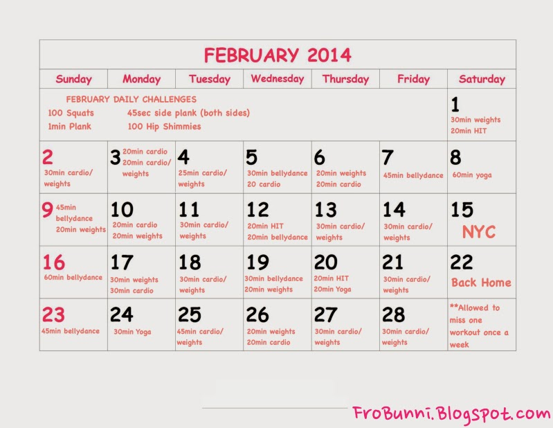 FroBunni | February Workout Schedule