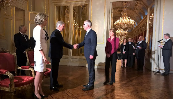 King Philippe and Queen Mathilde of Belgium hosted a reception at the Royal Palace in Brussels - Quenn Mathilde dress stylebop jeweler natan dress