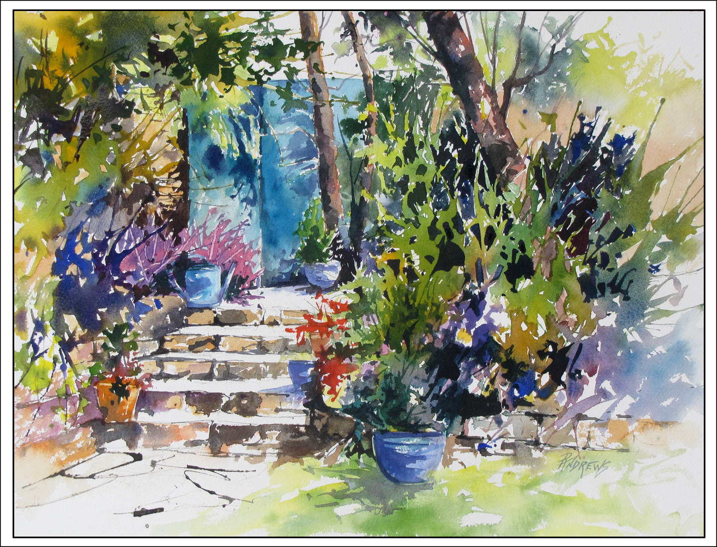 Watercolor artist in texas - Garden Tranquility France Watercolor Texas Artist Rae Andrews