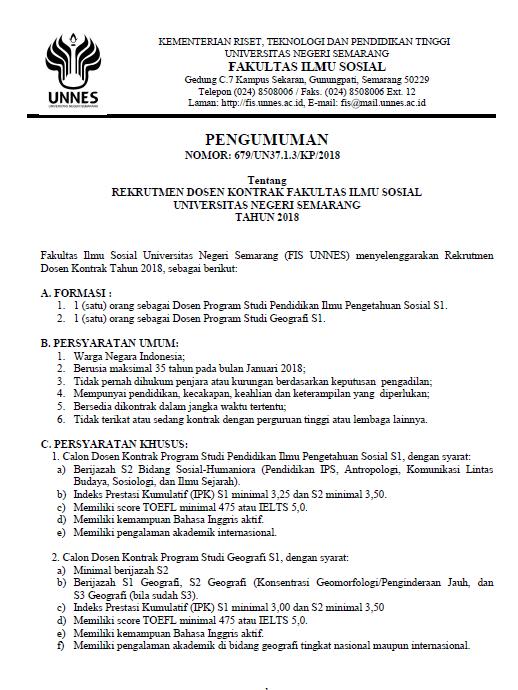 Rekrutmen Penerimaan DOSEN KONTRAK FIS UNNES Prodi Geografi & Pendidikan IPS