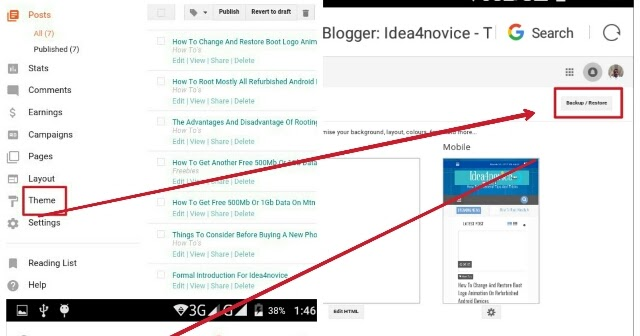 how to easily access and edit blogger template on android mobile