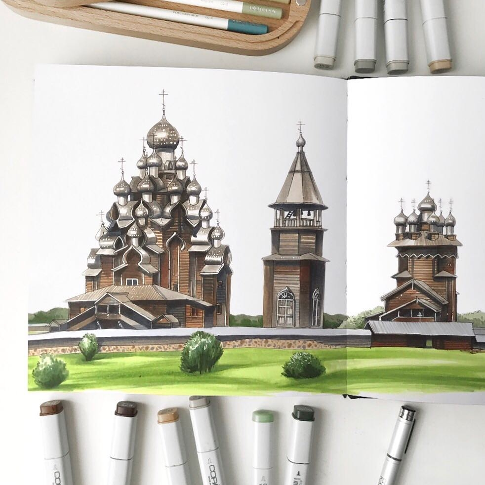 13-Timber-Architecture-Anna-Rastorgueva-Architecture-Travel-Journal-Urban-Sketches-Illustrations-www-designstack-co