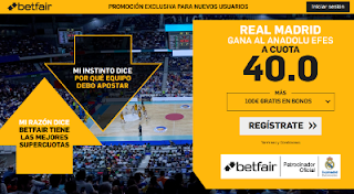 betfair supercuota Real Madrid gana Anadolu Efes 24 enero 2019