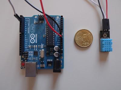 Arduino UNO R3 e DHT11 collegati - foto di Paolo Luongo