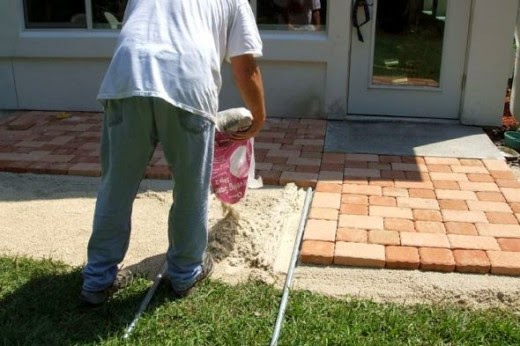 adding more step 2 leveling sand for patio stone pavers project