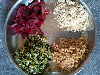 Sweet & Salt Sorghum (Solam) puttu,  Moringa Cabbage greens poriyal,  Beetroot Drumstick masala