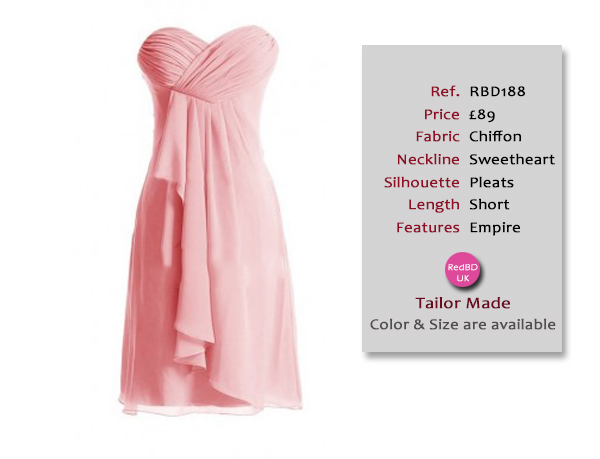 Chiffon Strapless Sweetheart Empire Style Short Bridesmaid Dress