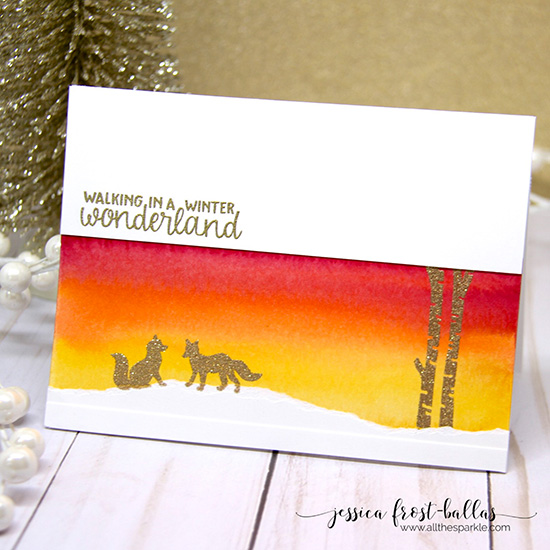 Winter fox scene card by Jessica Frost-Ballas | Serene Silhouettes stamp set by Newton's Nook Designs #newtonsnook