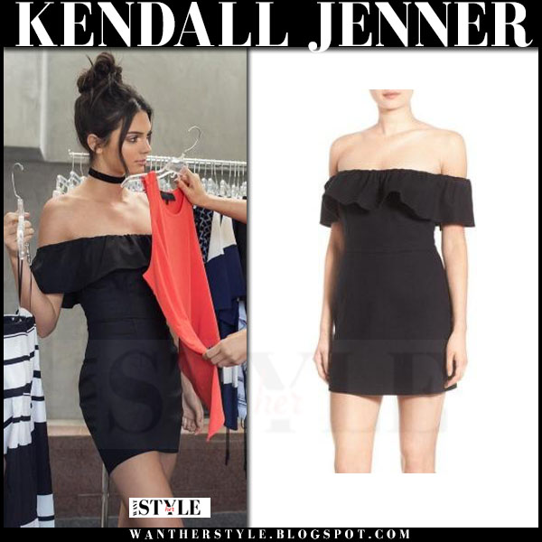 Kendall Jenner in black off shoulder mini dress kendall + kylie what she wore