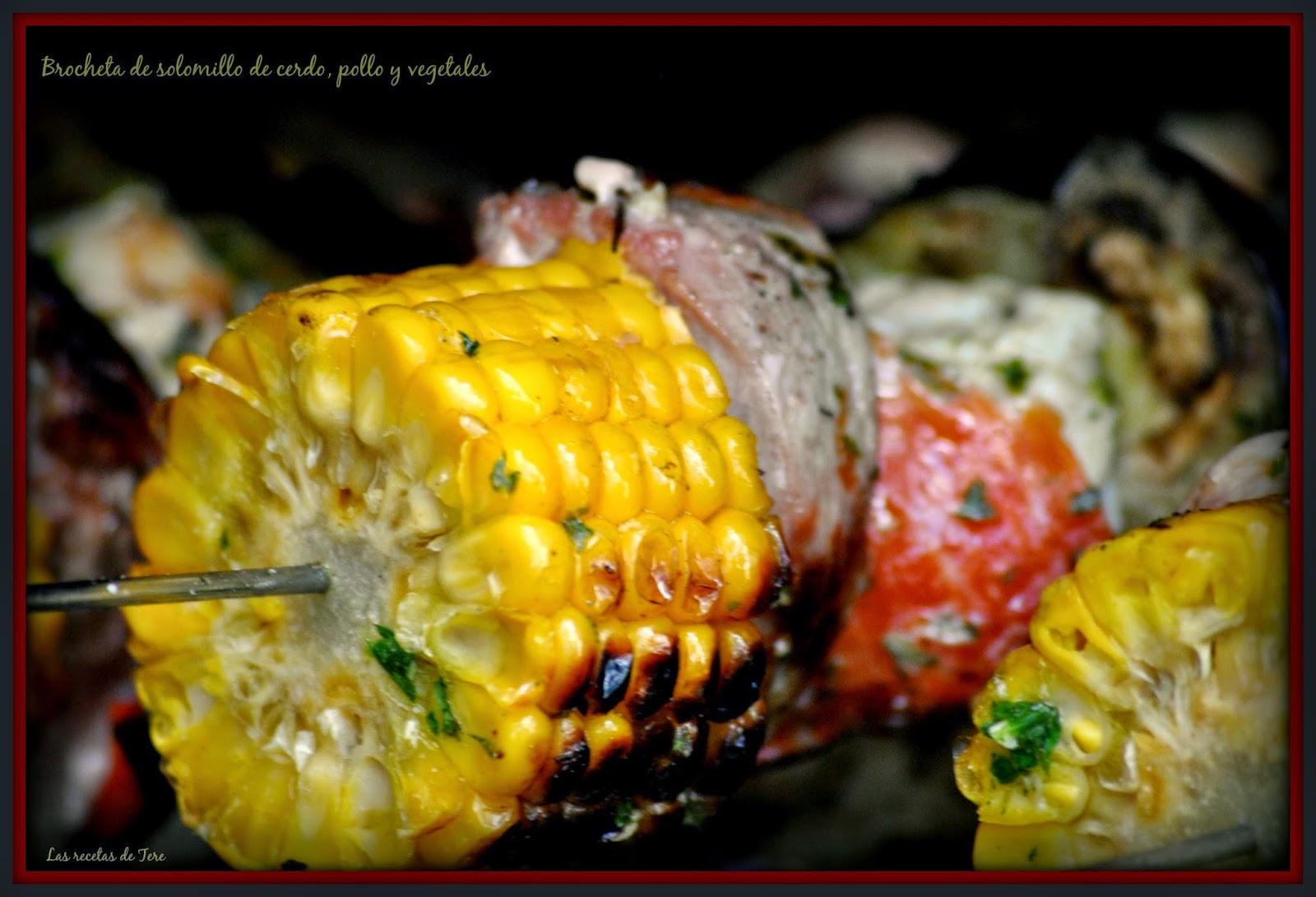 Brocheta de solomillo de cerdo, pollo y vegetales 04