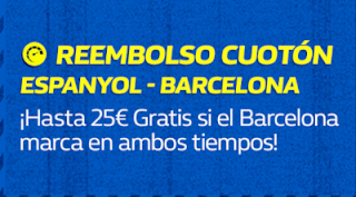 william hill Reembolso Cuotón Espanyol vs Barcelona 8 diciembre