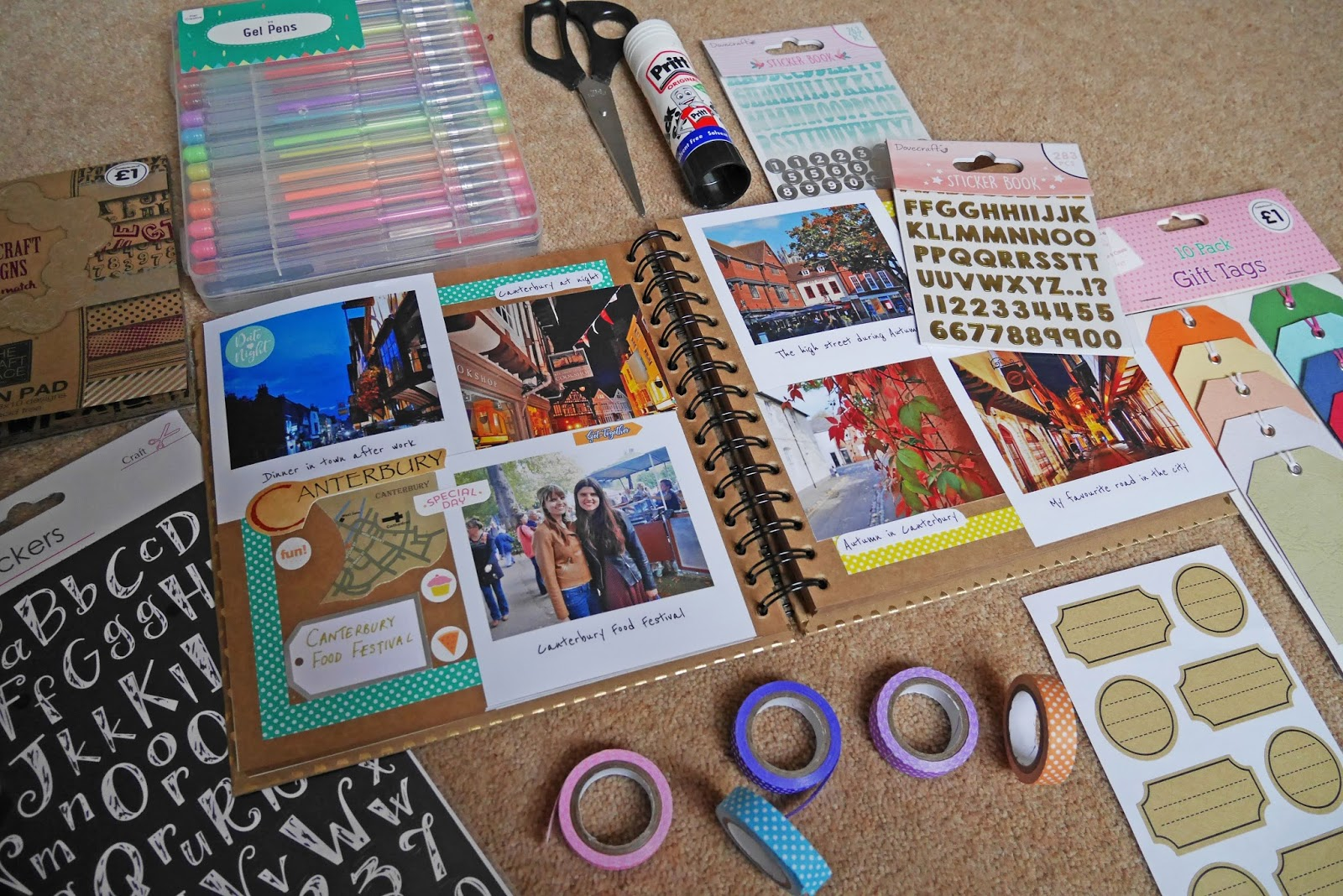 Scrapbooking starter kit for beginners - photos, gel pens, sticker books and more