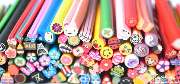 Fimo canes nail art sticks
