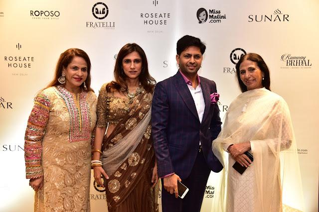 Entrepreneur Ramola Bachchan, Designer Rina Dhaka,CMD Sunar Jewels Praveen Goel and Designer Leena Singh at the Preview of SUNAR Presents Runway Bridal