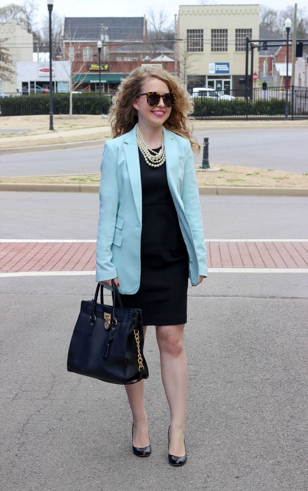 Banana Republic turquoise one-button blazer