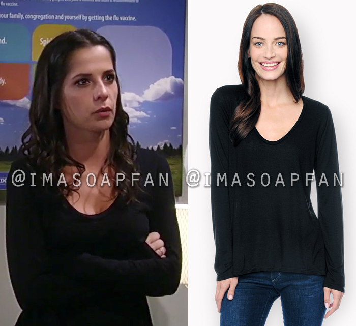 Sam Morgan, Kelly Monaco, Black Long Sleeve Scoop Neck Tee, General Hospital, GH