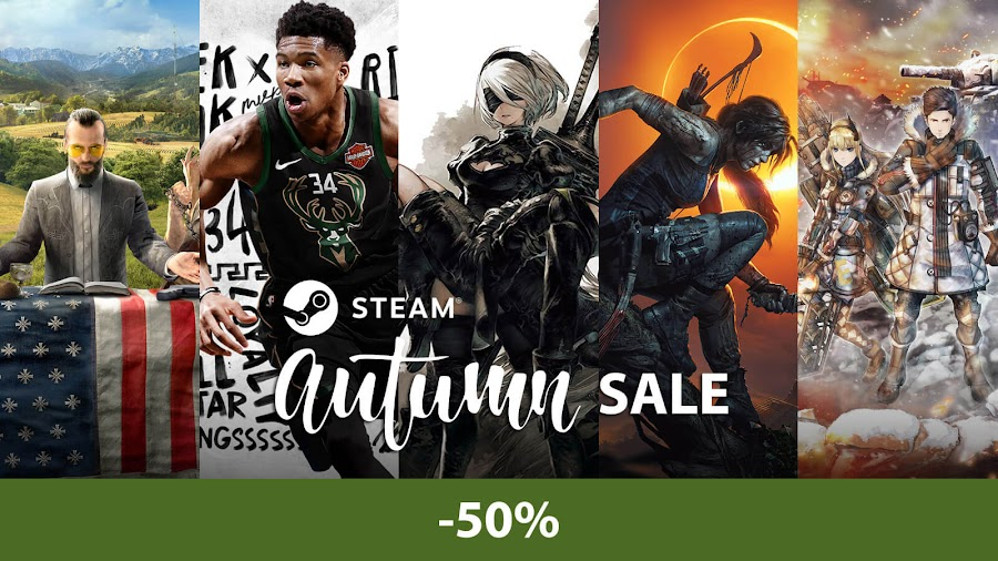 steam autumn sale 2018 far cry 5 nba 2k19 nier automata shadow of the tomb raider valkyria chronicles 4