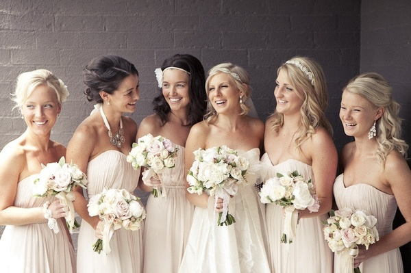 White Cream Bridesmaids Dresses