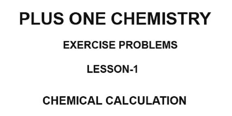 plus one chemistry exercise problem solved book for lesson