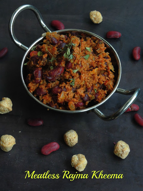 Rajma Soya Kheema Masala, Red Kidney Beans Soya Keema