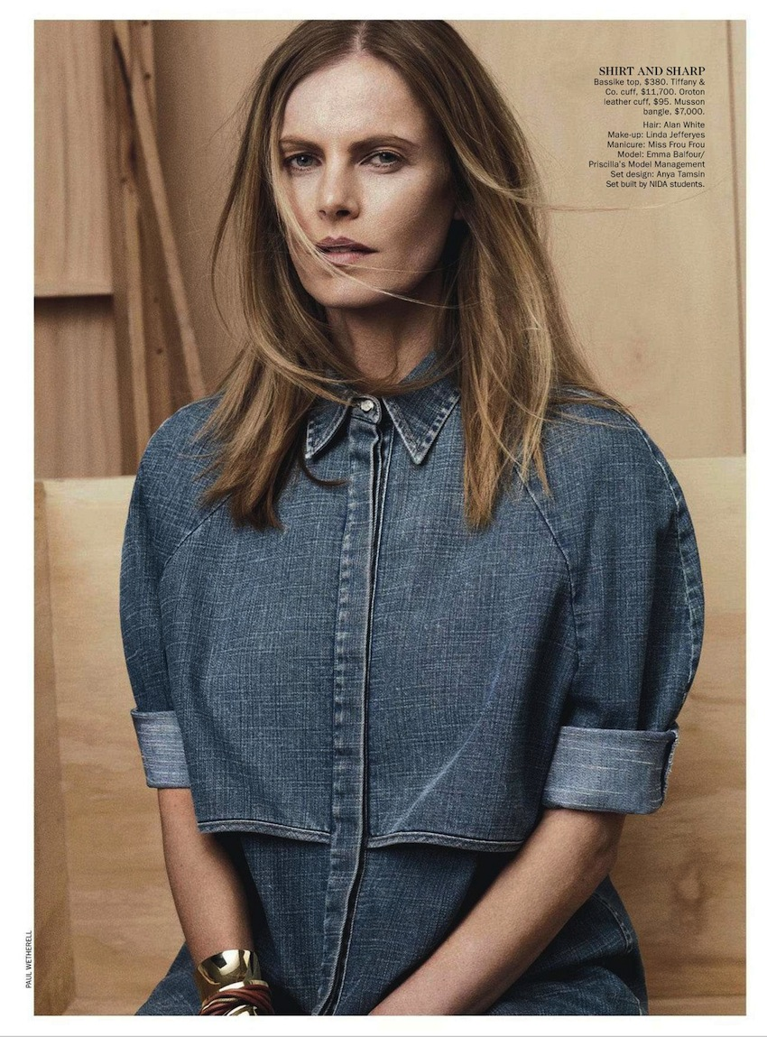 40cf33d861a3 Vogue Australia takes on new definition with a fresh approach to double  denim photographed by Paul Wetherell. Combining innovative cuts and pale  washes as ...