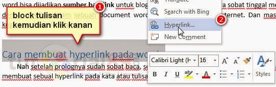 Cara mudah membuat hyperlink di word