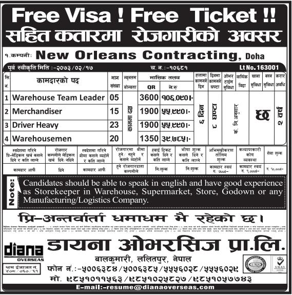 Free Visa, Free Ticket, Jobs For Nepali In Qatar, Salary -Rs.1,06,000/