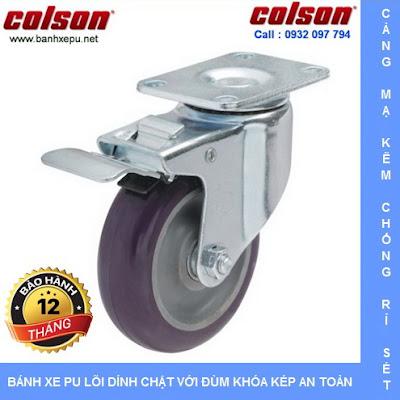 Bánh xe nhựa PU xoay khóa phi 100 chịu lực 122kg | S2-4256-95P-B4W www.banhxedayhang.net