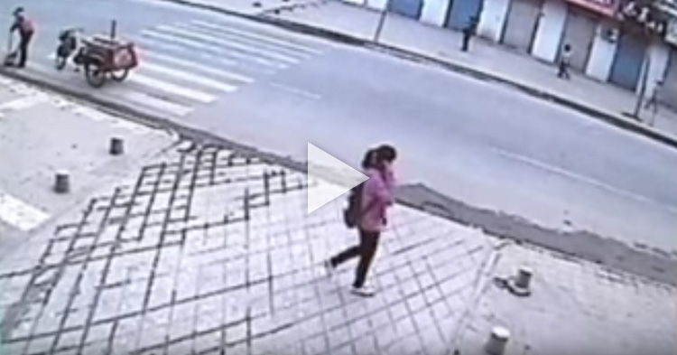 Woman swallowed by sidewalk in China