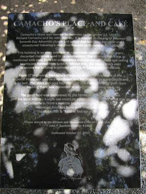 Commemorative Plaque Outside of Camacho's Place