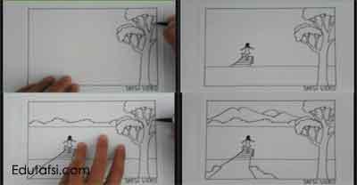 Cara menggambar pemandangan danau step by step