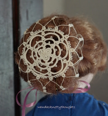 """Spider Web Snood"" © 1986 from Twinkling Stars and Small Tatted Gifts another view tatted by Wanda Salmans"