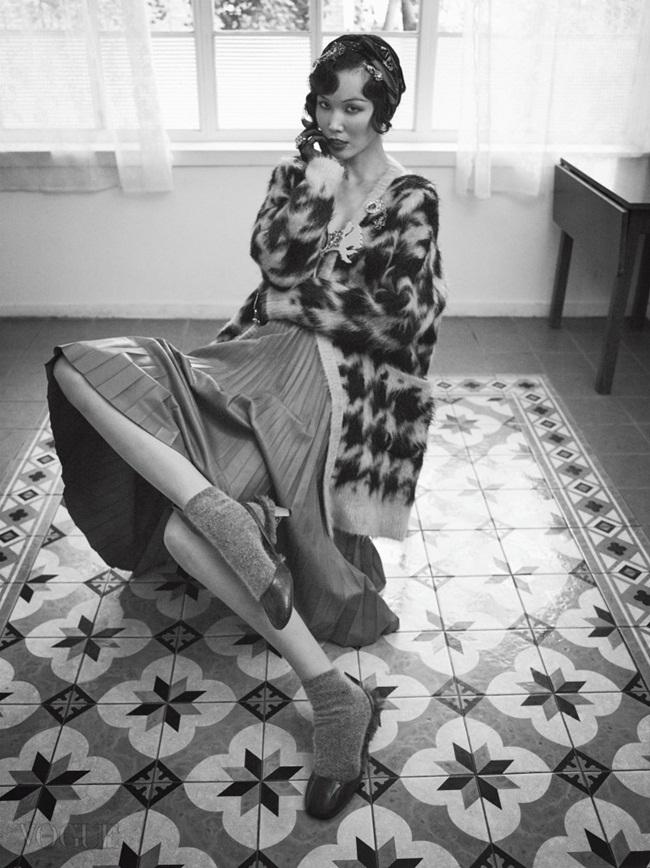 Max Mara 2015 AW Mohair Houndstooth Cardigan Editorials