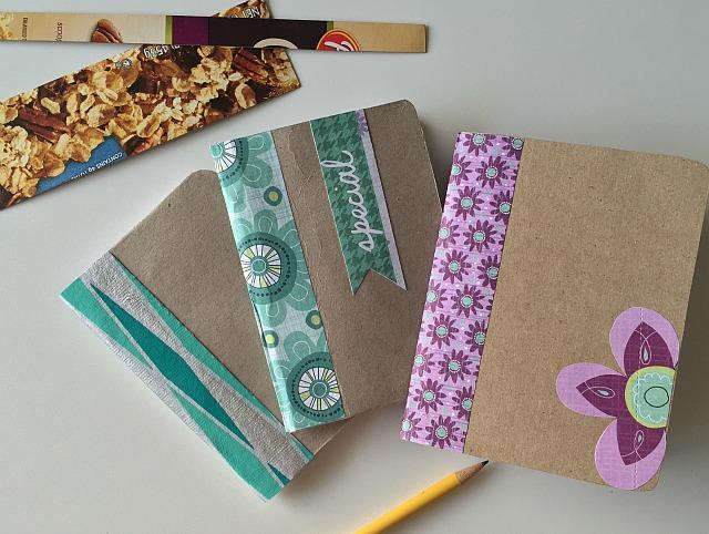 Reciclar cajas de cereal:libreta de notas | http://bizcochosysancochos.blogspot.com/