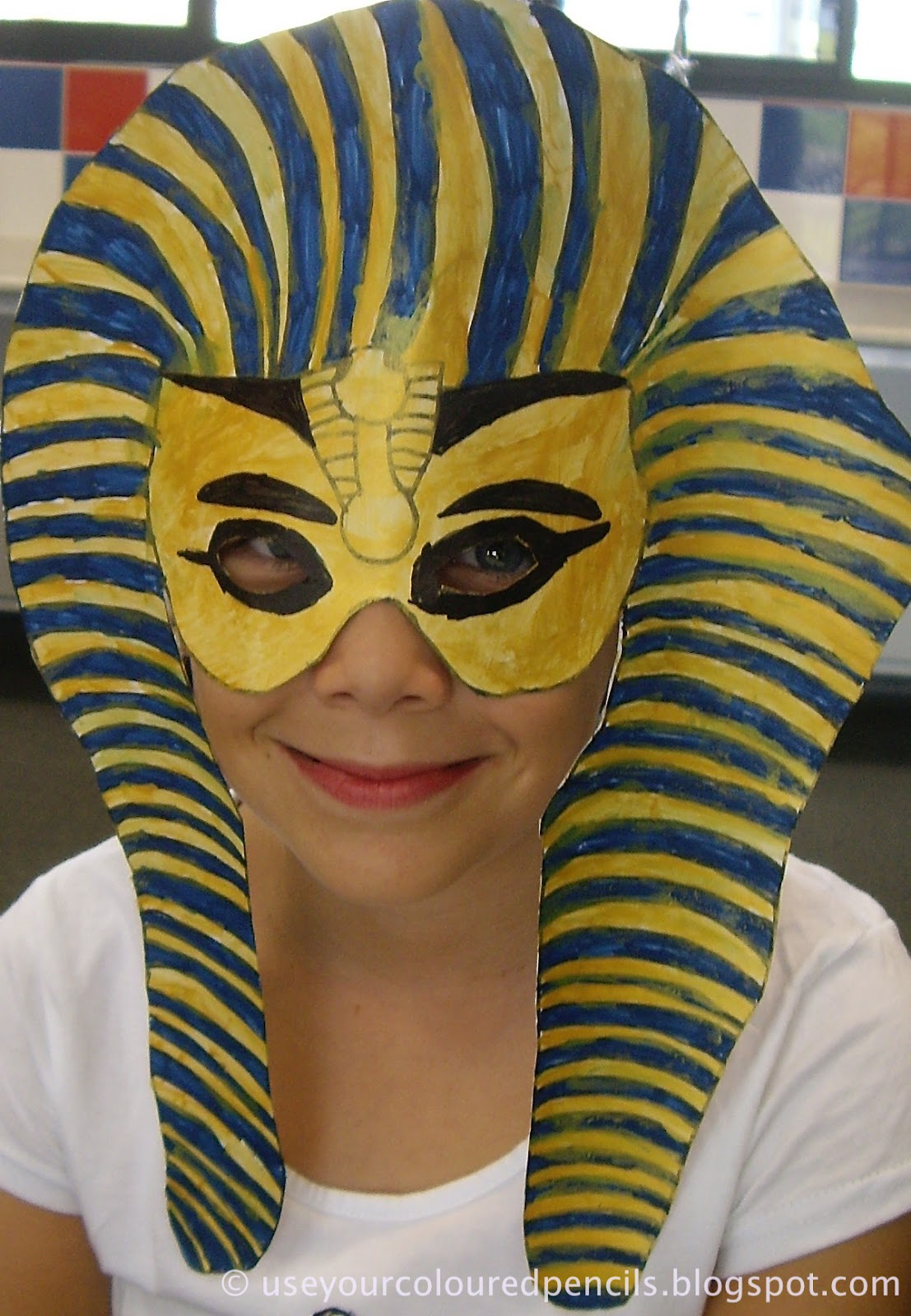 Use your coloured pencils tutankhamun masks for King tut mask template