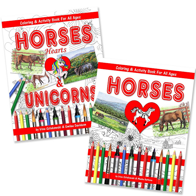 Coloring Books On Horses And Unicorns by Irina Sztukowski