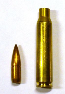 5.56 x 45 mm amunition bullet and case