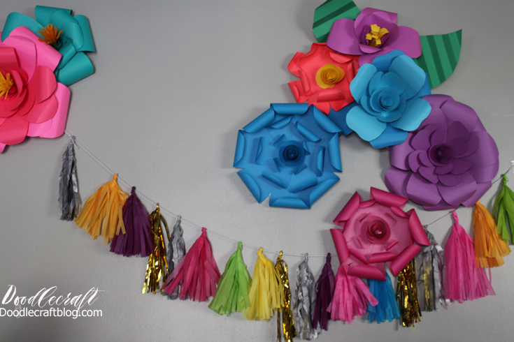 Doodlecraft diy paper flower wall backdrop i updated my current bunting with one that was more colorful its easy to diy theres a full tutorial on tissue paper garlands at this post mightylinksfo