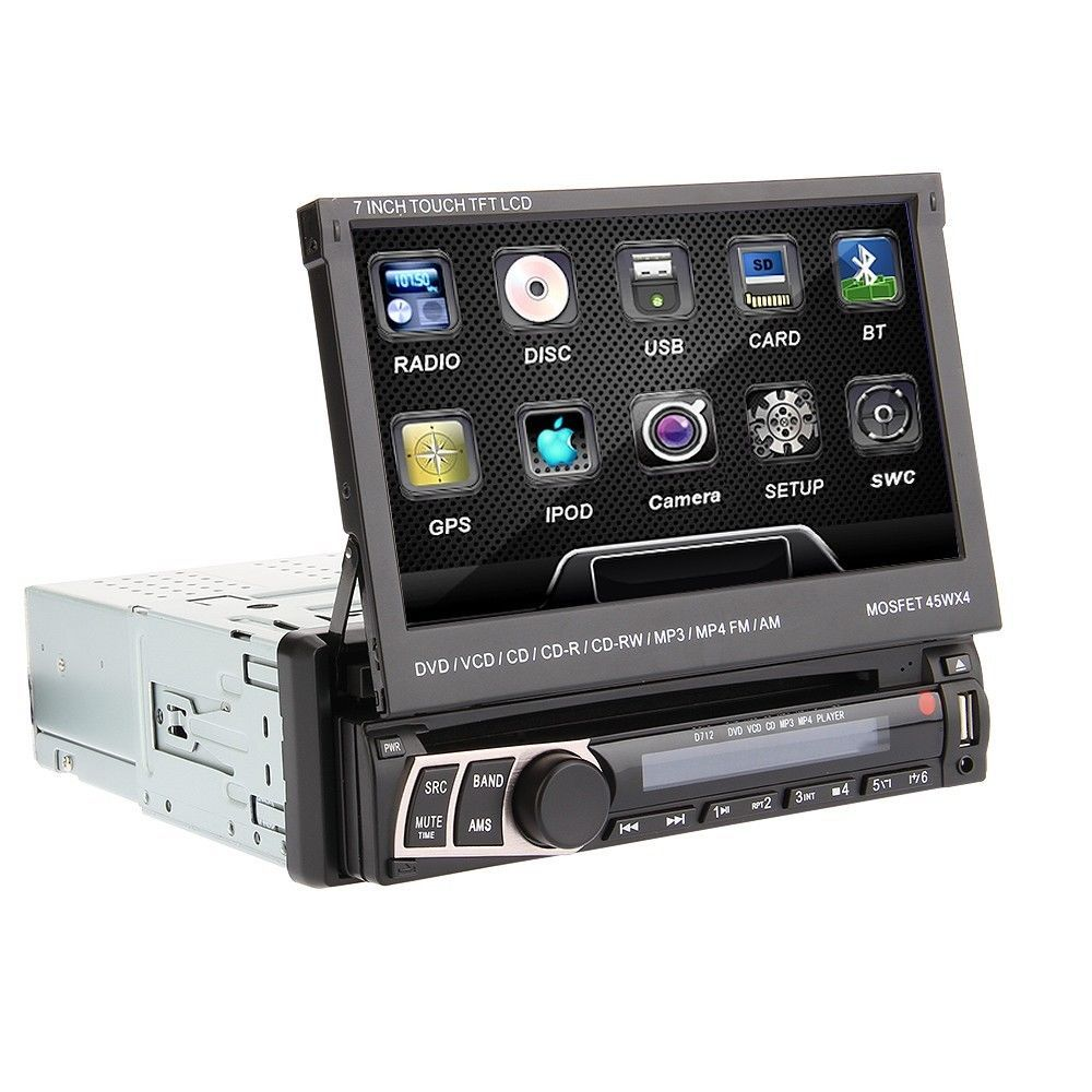 autoradio 1 din 7 touchscreen navigatore gps dvd bluetooth usb aux sd front estraibile. Black Bedroom Furniture Sets. Home Design Ideas