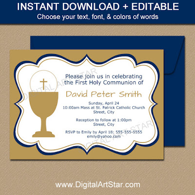 boy first holy communion invitation - gold with navy accents