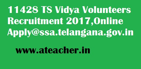 11428 TS Vidya Volunteers Recruitment 2017,Online Apply@ssa.telangana.gov.in