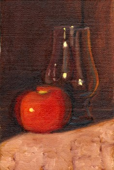 Oil painting of a bright red tomato beside an empty Glencairn whisky glass.