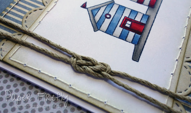 Handmade card with row of beach huts