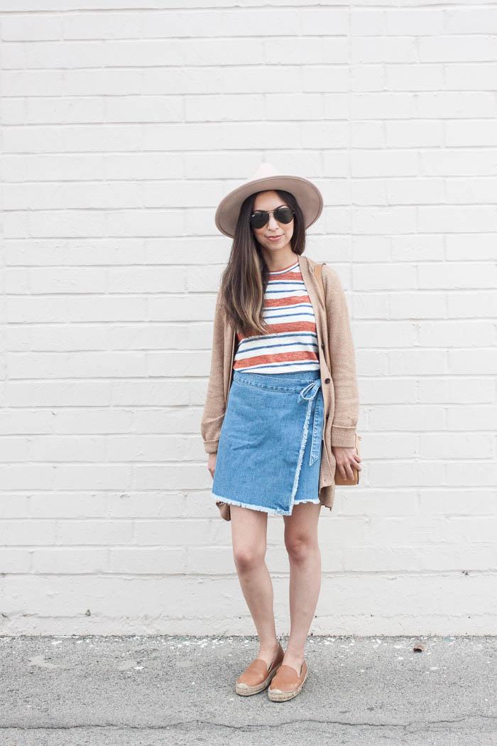 madewell tshirt, denim wrap skirt, flat espadrilles