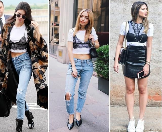 tendencias de moda primavera verão 2018 - sobreposição com sutiã