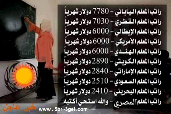 رواتب المعلمين بالدول تبدأ ب 7780 دولار وتنتهى ب 2410 دولار والمعلم المصرى ...حاجة تكسف