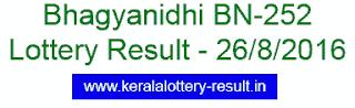 Bhagyanidhi BN 252, Kerala Bhagyanidhi BN252, Kerala lottery result Bhagyanidhi , Today 26-8-2016 Bhagyanidhi BN-252 lottery result, Bhagyanidhi BN252