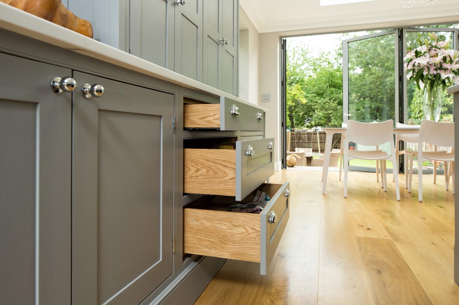 Grey Shaker Kitchen White Worktop